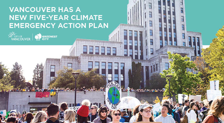 Vancouver has a new five-year Climate Emergency Action Plan - crowd in front of City Hall