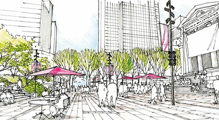 Drawing of future Robson Plaza design