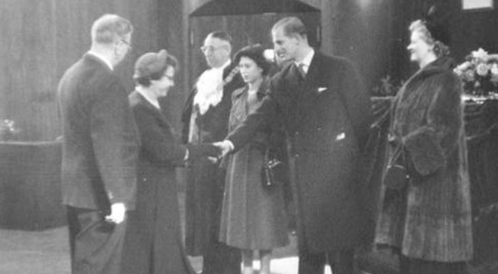 Royal visit to City Hall 1951 - Mrs Birt Showler greet Princess Elizabeth and Prince Philip