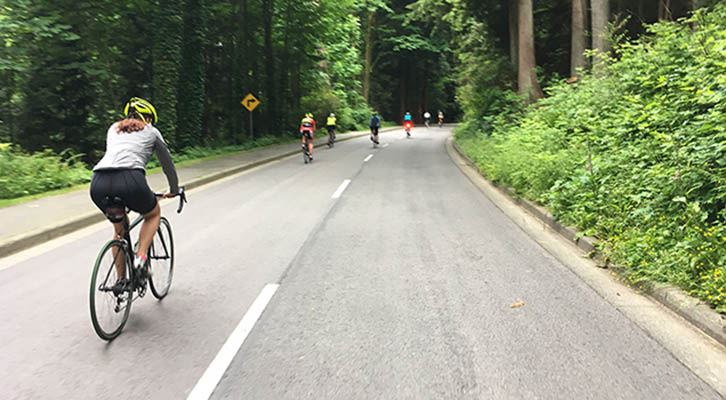 Cyclists riding in Stanley Park
