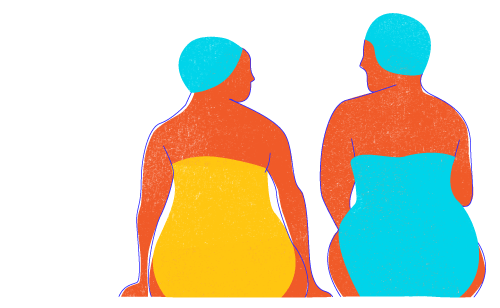 Illustration of two people sitting by the pool talking