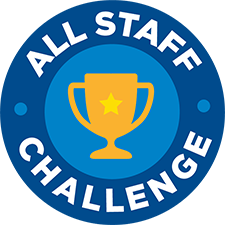 All Staff Challenge logo with trophy in the middle