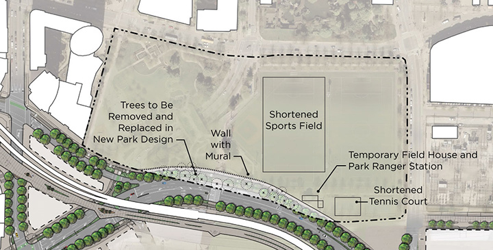 A map showing the interim features of Andy Livingstone Park to be maintained during the project.