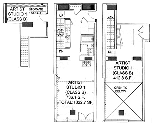 Floor plan of artist live-work studio #4