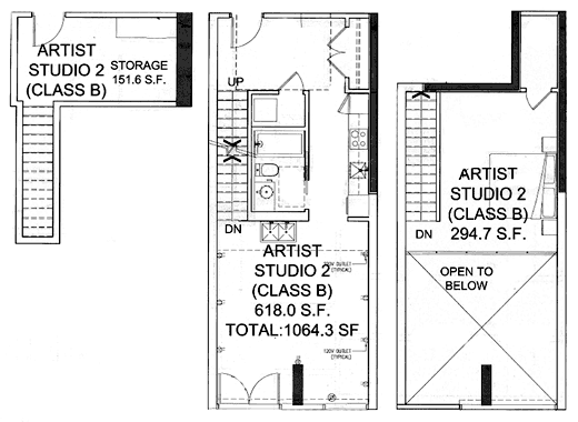 Floor plan of artist live-work studio #5