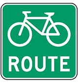 Sign with bicycle for designated bicycle routes