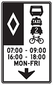 Sign for special vehicle lanes