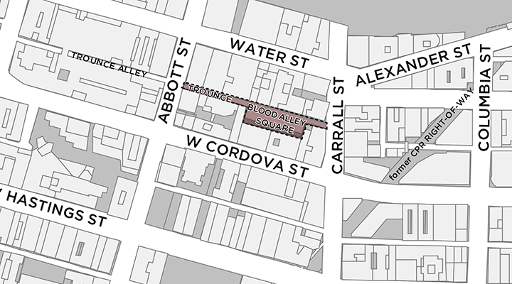 Map of Blood Alley Square and Trounce Alley in Gastown