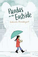Book cover illustration of a girl under an umbrella walking on a rainy street with a panda profile in the shadows