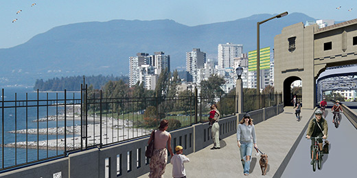 Rendering of the means prevention fence along the pedestrian walkway facing west to English Bay