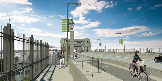 Rendering of the means prevention fence along the pedestrian walkway facing south