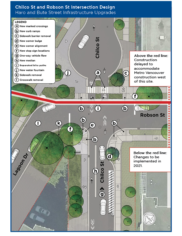Map of infrastructure upgrades along Chilco Street, Robson Street, and Lagoon Drive