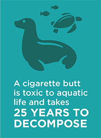 A cigarette butt is toxic to aquatic life and takes 25 years to decompose