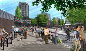 Comox-Helmcken Greenway artist rendering of Denman and Comox