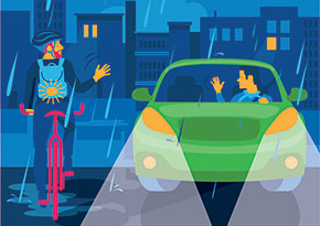 Graphic of cyclist and driver making eye contact and waving to one another
