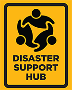 Yellow Disaster Support Hub sign