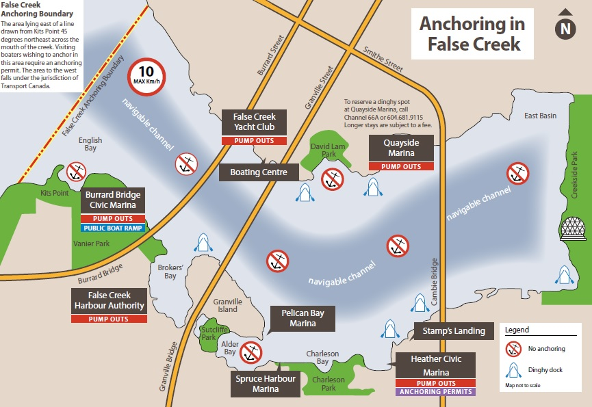 anchoring in false creek map