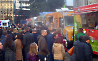 Food trucks at Street Food City during Dine Out Vancouver. Street food carts are selected based on quality and diversity of food, and more.
