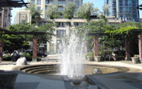 The Emery Barnes Park fountain at Davie St and Richards St