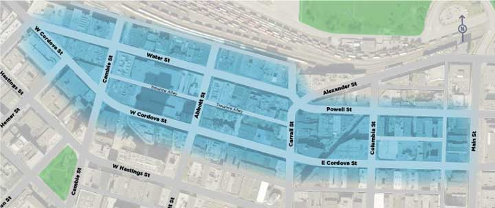 Gastown Complete Street study area map