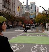 The City is updating bicycle boxes and lanes to green from red.