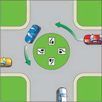 Navigate a traffic circle in a counter clockwise direction.