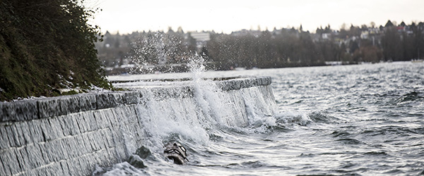 Storm surges along the Stanley Park Seawall