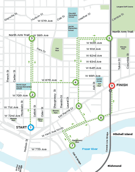 Route map of the Marpole Cycling Tour