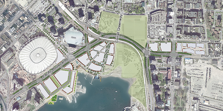 Northeast False Creek proposed street network without the viaducts