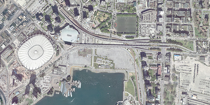 Northeast False Creek current street network