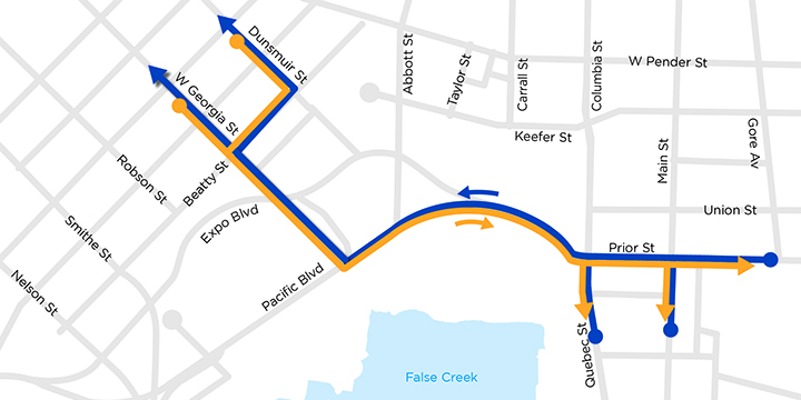 Proposed travel routes between Prior and Georgia / Dunsmuir without the viaducts would use a two-way Pacific Blvd and Georgia St