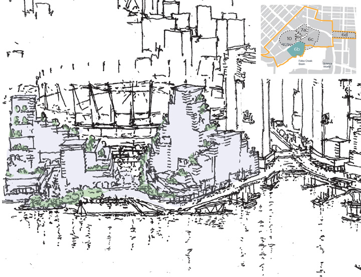 A sketch of sub-area 6B, the Plaza of Nations site in Northeast False Creek