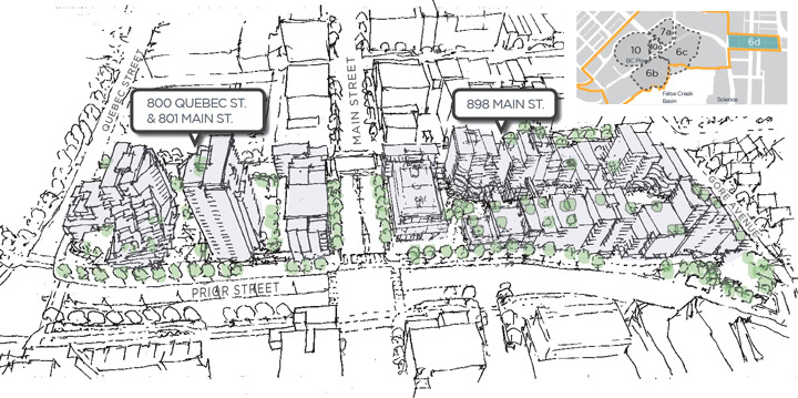 A sketch of sub-area 6D, the Main Street blocks in Northeast False Creek