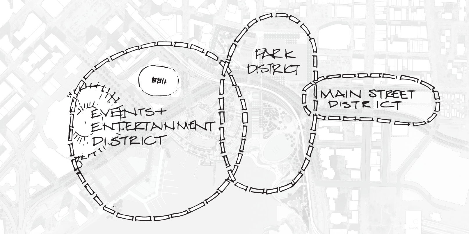 Diagram of the three distinct districts in Northeast False Creek, from west to east, the Events and Entertainment District, Park District, and Main Street District