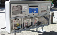 Multiple publication newsracks are available for high-traffic locations.