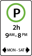 This parking sign limits vehicles to parking for two hours on weekdays from 9 a.m. to 8 p.m.