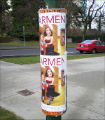 Posters displayed using a poster cylinder.