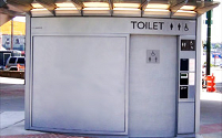 Automated public toilets like this one at Main and Terminal, are free to use.