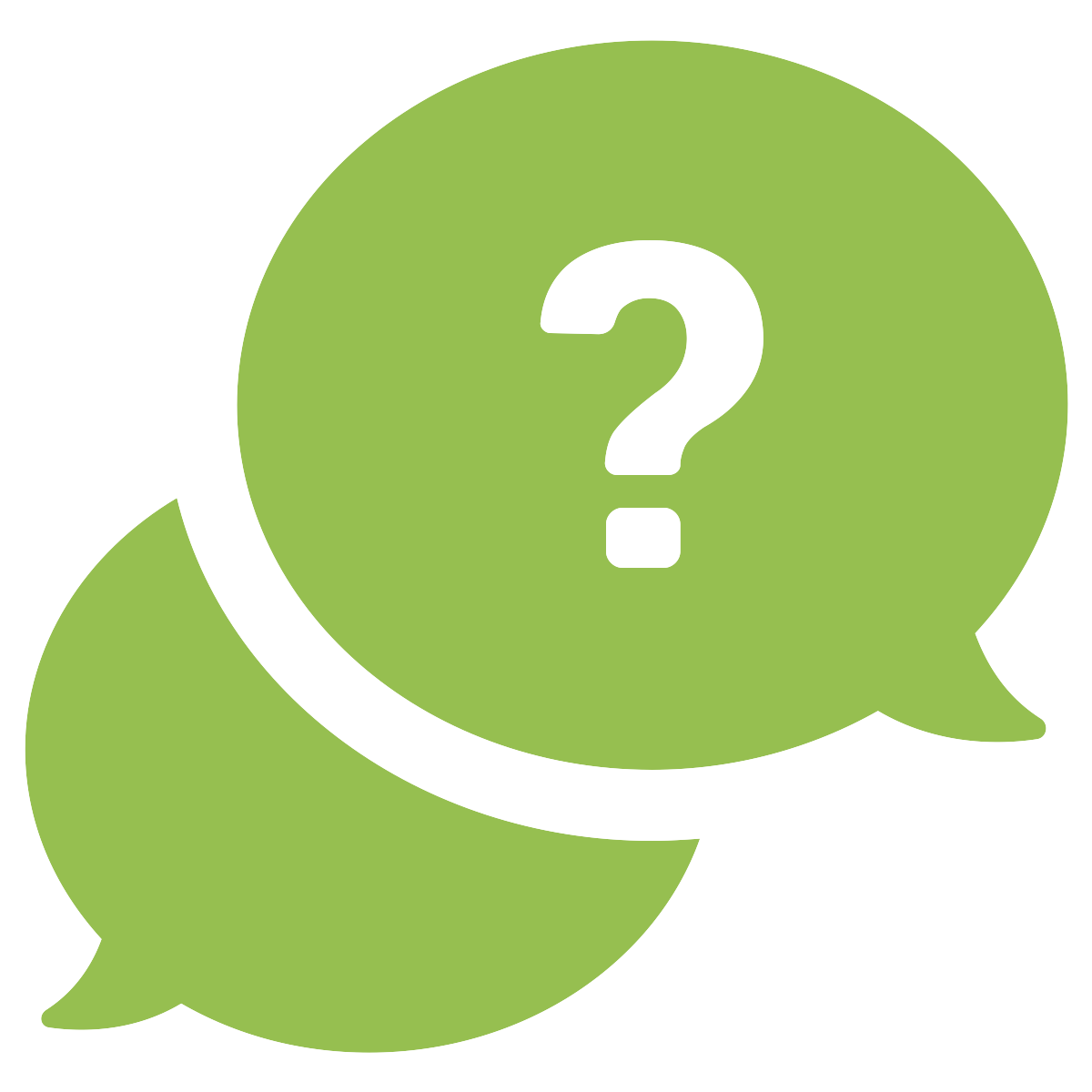 Icon of two speech bubbles with a question mark