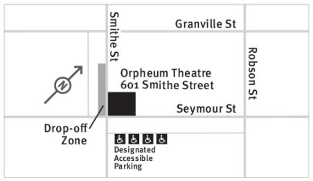 Map of venue and areas for drop-off and designated accessible parking