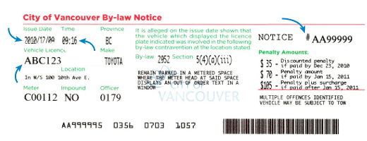 Sample parking ticket