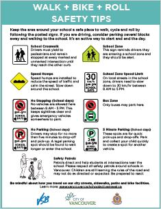 back to school poster with traffic sign tips