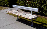 The City of Vancouver installs benches on sidewalks, mainly at bus stops.