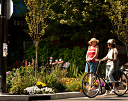 Traffic circle gardens help beautify Vancouver.