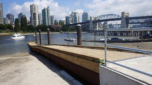 West dock and motorized boat launch at Vanier Park's boating facilities