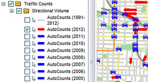How to select the year you want to view automatic traffic counts in VanMap
