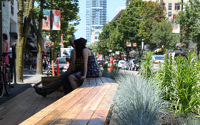 Parklets create dynamic public seating areas and attract potential customers