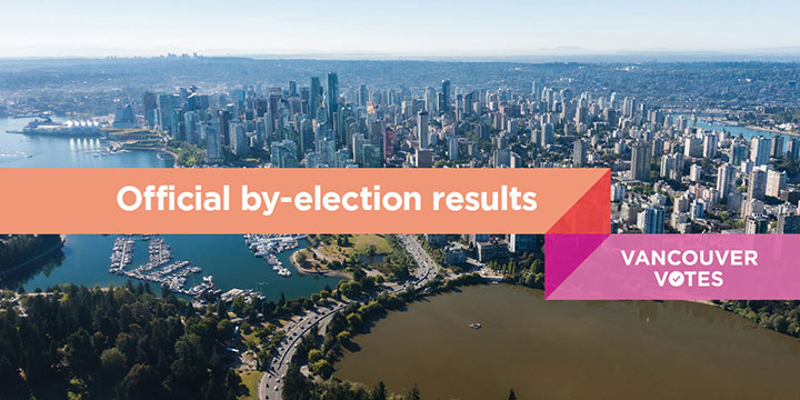 Vancouver skyline with caption Official by-election results - Vancouver Votes