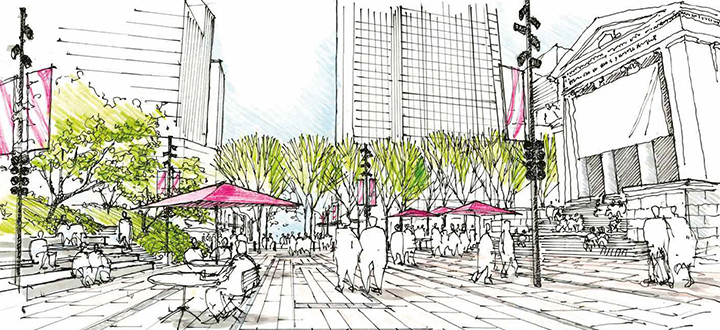 Concept illustration of the plaza at 800 Robson