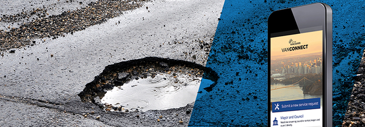 Use the VanConnect app to report potholes to the City